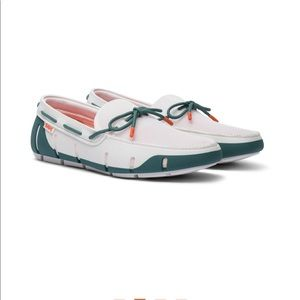 NEW • Swims • Stride Lace Up Loafer White Teal 7